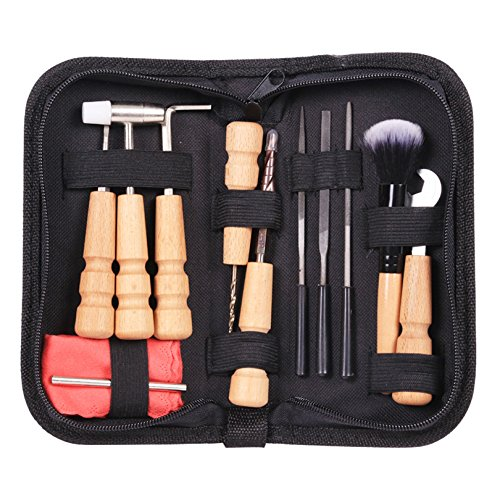 TOOGOO Gitarre Werkzeuge Tasche Set Gitarre Reparatur Datei Kit Nuss Ablagen Lineal Turner Gauge Messwerkzeug Schnur Wickler 13 Stuecke/Set