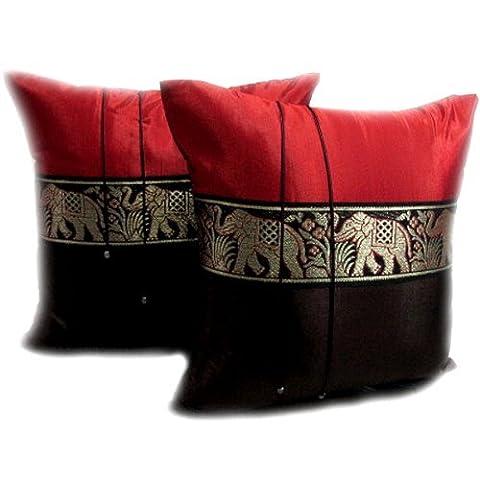 Thaimart Pillow Satin and Thai Silk Lot de 2 housses de coussin décoratives de fabrication artisanale Rouge/marron avec bande à motif éléphant 40 x 40 cm