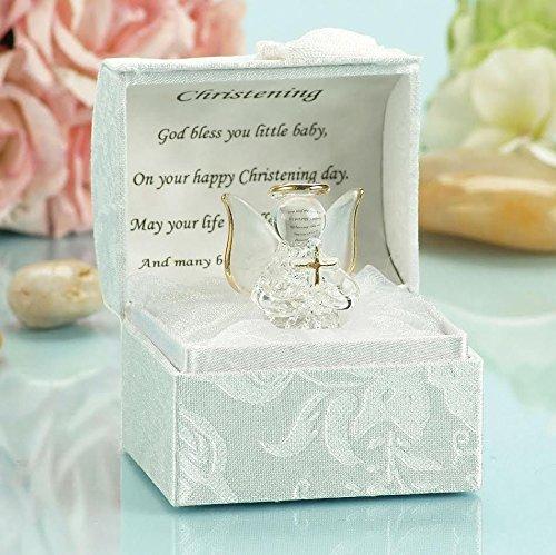 Ange en cristal avec croix, idées de cadeau de baptême pour filles et garçons