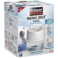 Rubson AERO 360º Baño, deshumidificador portátil sin cable para baño, absorbe humedad para la circulación del aire, disipador de condensación, dispositivo y tableta, 450 g