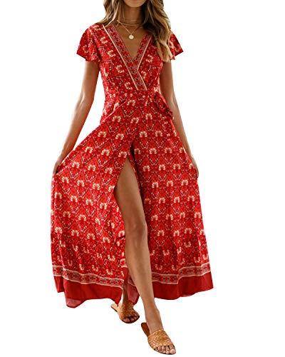 MINTLIMIT Kleider Damen Boho Sommerkleid Blumen V-Ausschnitt Kurzarm Wrap Split Maxikleid Vintage Standkleid Weinrot S -