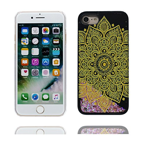 "iPhone 7 Coque, fleur de cerisier - Bling Glitter Flowing Funny Silicone Ultra Slim, Case iPhone 7 Étui 4.7"", Shock Dust Resistant Shell iPhone 7 Cover 4.7"" Noir 3"