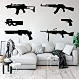 Un juego de 6 calcomanías de pared para niños en la habitación de los niños sala de los niños Ak 47 armas militares del ejército pegatinas de pared dormitorio sala de juegos de vinilo 56x44cm