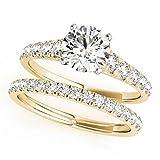 Lilu gioielli zircone bianco anello di fidanzamento da donna da sposa set 14K placcato oro finitura, Argento, 22, colore: Yellow, cod. STYLE# 50979-E_Yellow_03