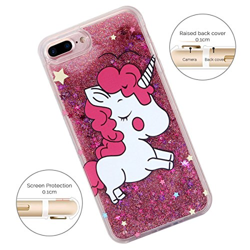 Cover iPhone 7 Plus Spiritsun iPhone Custodia TPU Moda Elegante Case Cover Soft Silicone Back Cover Protezione Bumper Funzione Shell Morbida Flessible TPU Bling Bling Cover Per iPhone 7 Plus (5.5 Poll Unicorno