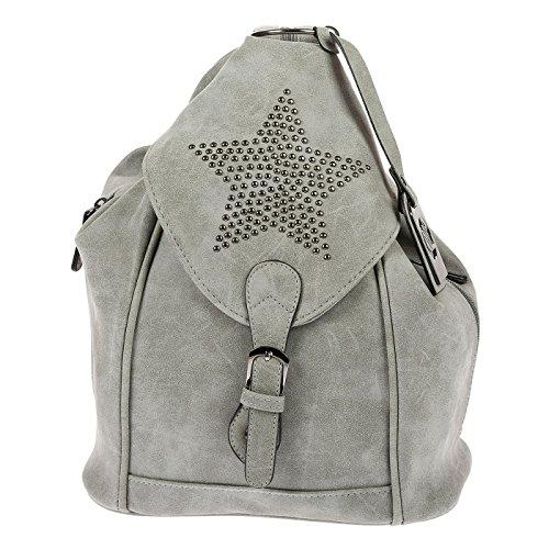 Nili Bags and More Damen Rucksack Stern Handtasche Shopper Rucksackhandtasche Handtasche Bag (Hellgrau)