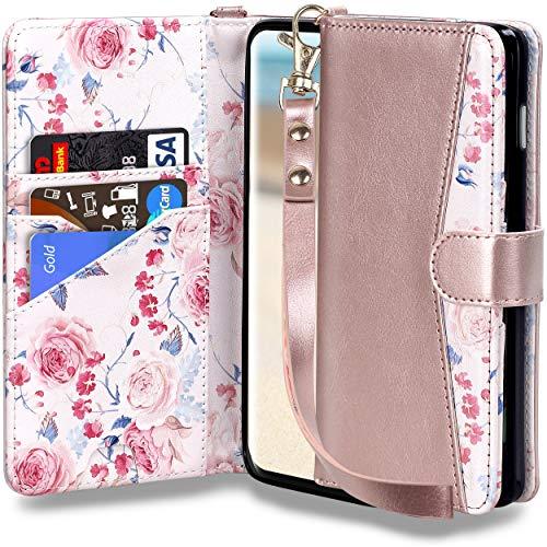 Leder Handgefertigte Geldbörse Wallet (ELV Luxus Handgefertigte Geldbörse für Samsung Galaxy S10E PU veganes Leder Wallet Case Cover für Galaxy S10E mit Ständer und Kartenfächern, Samsung S10E, Rose Gold)