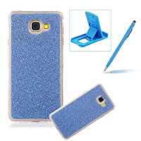 For Samsung Galaxy J3 Prime/J3 2017 Cover,For Samsung Galaxy J3 Prime/J3 2017 Rubber Case,Herzzer Super Slim [Dark Blue Gradient Color Changing] Dust Resistant Soft Flexible TPU Bling Glitter Protective Case for Samsung Galaxy J3 Prime/J3 2017 + 1 x Free