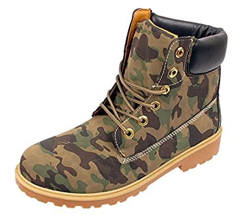 MENS ANKLE BOOTS ARMY CAMOUFLAGE LACE UP CASUAL HIKING COMBAT WALKING FASHION GRIP SOLE CELEBRITY STYLE (UK 9 / 43, Green)