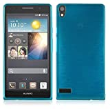 Cadorabo DE-104988 Huawei Ascend P6 Handyhülle aus TPU Silikon in gebürsteter Edelstahloptik (Brushed) Türkis