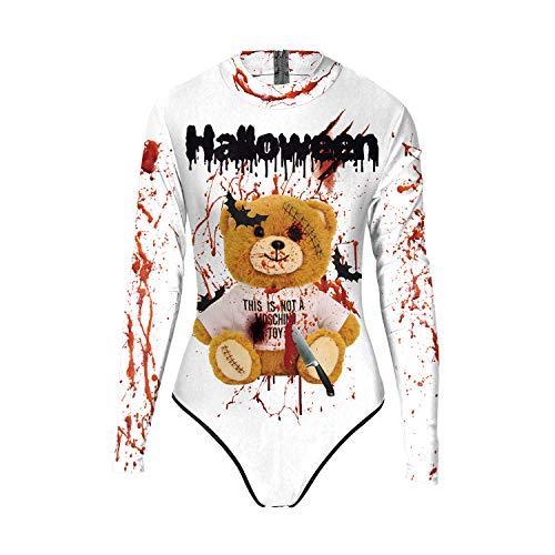 URVIP Damen Skelett Knochen Schick Kleid Lange Ärmel Skelett Druck Halloween Party Bodysuit Top WB120-005 S/M