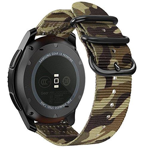 Preisvergleich Produktbild Fintie Armband für Galaxy Watch 46mm / Gear S3 Frontier / Gear S3 Classic - Premium Nylon Uhrenarmband Sport Armband verstellbares Ersatzband mit Edelstahlschnallen,  Camouflage Grün