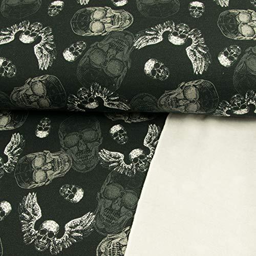 Stoffe Werning Sweatshirtstoff Totenköpfe schwarz Modestoffe Flügel Öko-Tex - Preis Gilt für 0,5 Meter