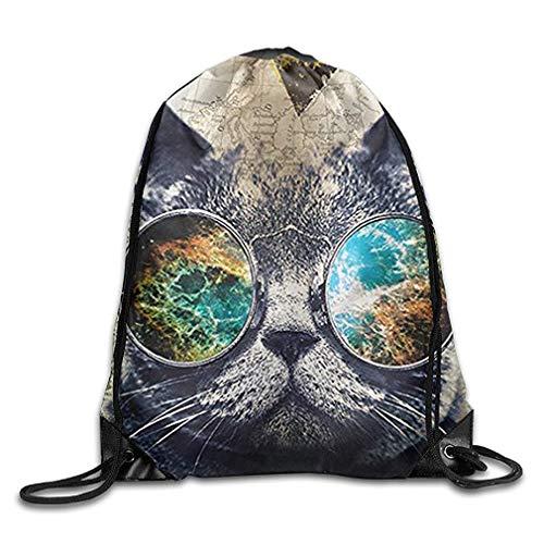 ZHIZIQIU Cool Cat Lightweight Drawstring Bag Sport Gym Sack Bag Backpack with Side Pocket Bright Side Bag