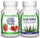 Ultra Ketone Plus and Aloe Ferox Premium Combo by Natural Answers - Maximum Strength Fat Burning Supplement for Men and Women - UK Brand Pure Natural Diet Pills - Colon Cleanse & Detox Tablets - Quick Weight Loss - Reduce Bloating - Appetite Suppressant - Antioxidant