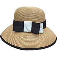 Gespout Casual Bow Hat Collapsible Outdoor Travel Sun Hat Summer England Elegant Dome Hat size 56-58CM (Khaki)