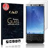 3 Packs Protection écran BlackBerry KEYone, J&D [Verre Trempé] Protection écran Clair HD pour BlackBerry KEYone - Protège l'écran de la chute et des rayures