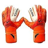 Sue-Supply Torwarthandschuhe mit/Tormannhandschuhe/Fußballhandschuhe mit Verschiedene Größen 5# 6# 7# Junior Kinder-Orange (M)