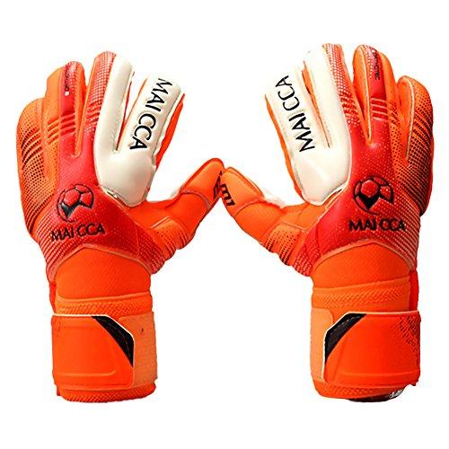 Sue-Supply Torwarthandschuhe/Tormannhandschuhe/Fußballhandschuhe mit Verschiedene Größen 5# 6# 7# Junior Kinder-Orange (S)
