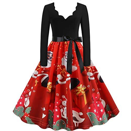 BOLANQ Damen der Frauen mit Langen Ärmeln Santa Geschenke Glocken Lebkuchen-Weihnachtsweihnachts druckte Neuheit Ausgestelltes Swing-Kleid Top in Übergrößen(Small,Rot)