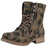 Damen Boots Stiefeletten mit Stilettoabsatz Trend Damen Stiefeletten Camouflage Verde Nuovo 36