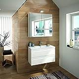 ALLIBERT Badmöbel-Set Badmöbel vormontiert Softclose-Funktion weiß Spiegelschrank Waschtisch 80 cm Badezimmer