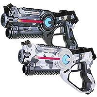 Light Battle 2 Laserpistolen für Kinder: 2X Active lasertag Pistole (1x Camo grau + 1x Camo weiß)   LBAP10267D