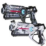 Light Battle 2 Laserpistolen für Kinder: 2X Active lasertag Pistole (1x Camo grau + 1x Camo weiß) | LBAP10267D