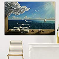 VAWAA Art Print Poster The Waves Book Sailboat Picture Canvas Painting Diary Of Discovery By Vladimir 28x46 Inch