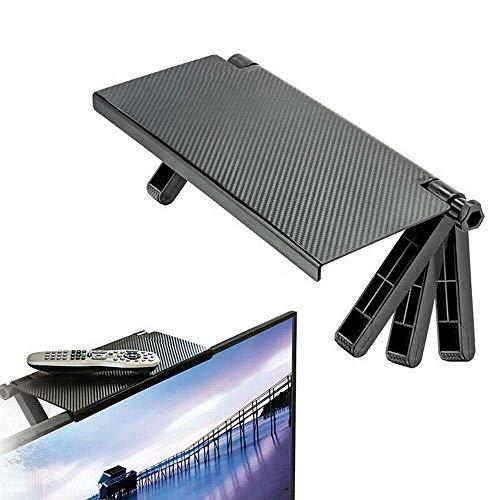 Screen Caddy Screen Top Regal, Einstellbare Durable TV-Bildschirm Caddy Screen Top Shelf Desktop Storage Rack Schwarz (2 Stück)