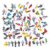 H0_V 100 Stück Figuren Model,1:87 HO Züge Architekturmodell Miniatur Figuren Modell(1.4-2.2cm)