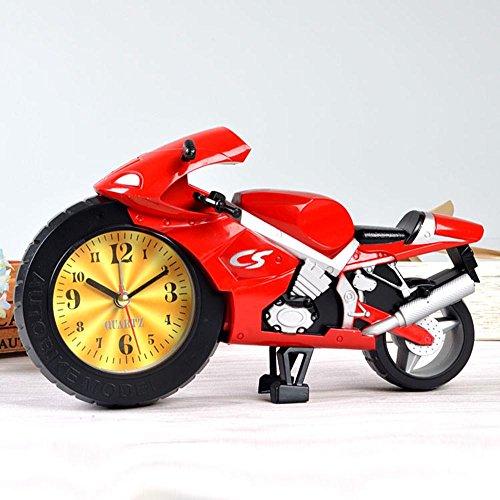 PLYY Motorrad-Wecker-reizender Kursteilnehmer-Kind kreativer Wecker, red