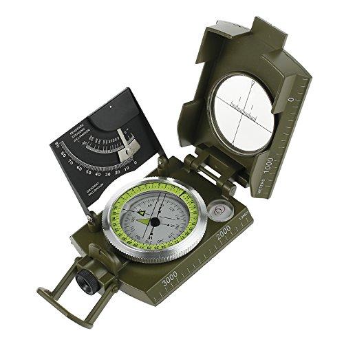 AUTOUTLET Professioneller Marschkompass Metall Peil Kompass Bundeswehr Compass Reisen 360