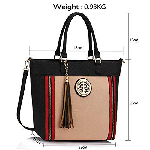 Trendstar Damen Large Tassel Tote Handtasche Designer Taschen Leder Schulter Neue Schwarz/Nude