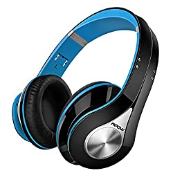 Bluetooth Headphones Wireless Mpow Over Ear Headphones , [High Quality] Soft Earmuffs Foldable Wireless Headphones, Built-in Microphone For Mobile Phone Tv Pc Laptop, Blue & Black (Storage Bag Included)