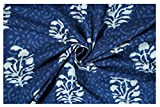 #6: Indigo Blue Abstract Printed Dress Making Cloth Material Fabric Cotton Block Print Natural Running Fabric Vegetable Color Fabric By Handicraft-Palace (2.5 Meter)
