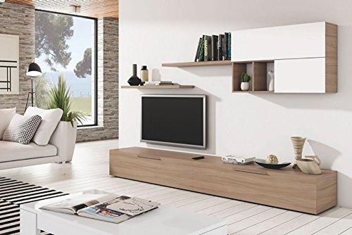 Habitdesign 016683W - Mueble de comedor, mueble salon moderno, color Blanco Brillo y Nature, medidas modulo: 260 x 32 x 42 cm de fondo