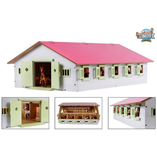 Van Manen Kids Globe Farming Reiterhof, Bauernhof mit 9 Pferdeboxen, Pferdehof aus Holz, mit Faltdach, 610188, rosa