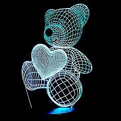 Idea Regalo - Luci 3D Illusioni Ottiche Lampada Comodino Luce A Forma Di Cuore In Acrilico A Luce Led 3D A Forma Di Cuore Con Orsetto A Forma Di Cuore