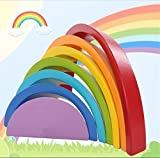 URToys Colorful Wood Rainbow Building Blocks Toys Wooden Blocks Circle Set Baby Colour Sort Play Game Toy Kids Christmas gift