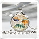 Tropische Fische Halskette Ocean Sea Life Marine Aquarium Nautische Art Anhänger in