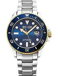 So y Co de yates Club de Nueva York para hombre reloj infantil de cuarzo con azul esfera analógica y plateado correa de acero inoxidable de 5025,2