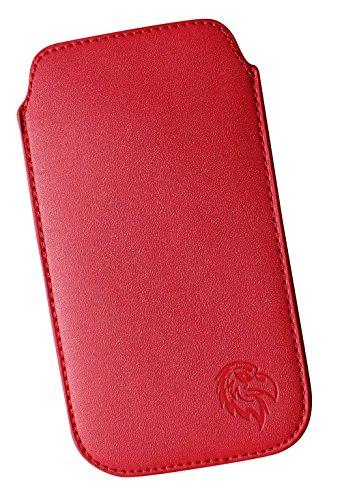 Schutz-Tasche passend fuer Samsung Galaxy A5, Pull-tab Handy-Huelle herausziehbar, Etui genaeht mit Rausziehband, duenne Tasche mit exklusivem Motiv Adler LE Rot