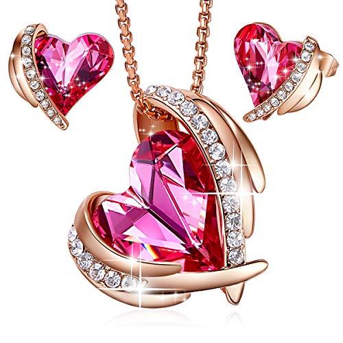 CDE Pink Angel Halskette Ohrringe Schmuck Set Armreif Mutter Halskette Rose Gold Schmuck mit Pink Embellished with Crystals from Swarovski mit Geschenkbox, ldeal Mutterstag Valentinstag (Rose Gold)