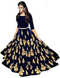 Ultrasav Women's Velvet Navy Blue Color Embroidery Lehenga Choli (FREE_SIZE)