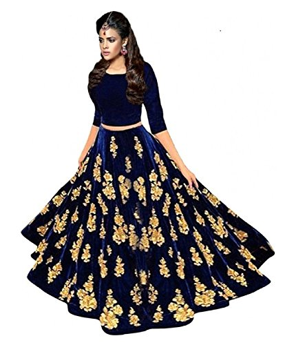 Lovisa Fashion Woman's Embroidered BlackBerry Velvet Nevy Blue Colored Semi-stitched Lahenga Choli...