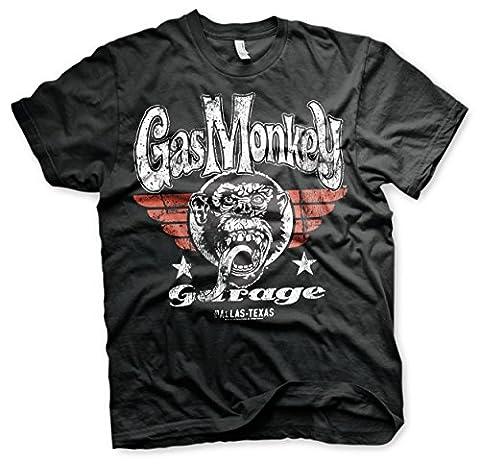 Officially Licensed Merchandise Gas Monkey Garage Flying High T-Shirt (Black),