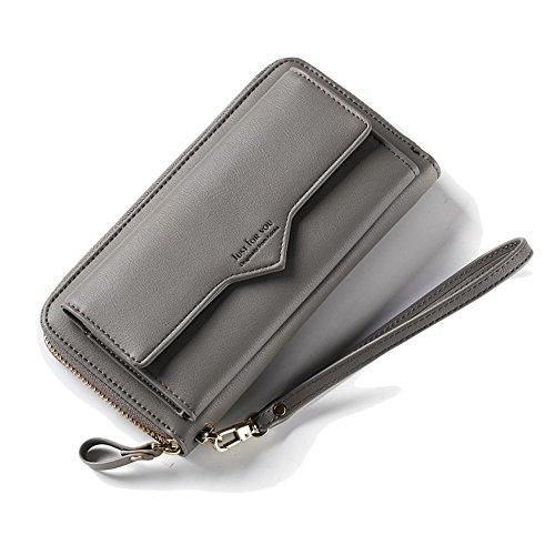 Zhaoyun Damen PU Leder Reißverschluss um Kreditkarte Geldbörse lang Clutch Handtasche - grau - Einheitsgröße
