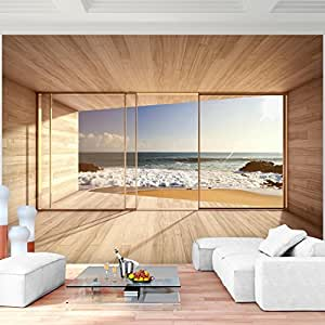 fototapete fenster zum meer 352 x 250 cm vlies wand tapete wohnzimmer schlafzimmer b ro flur. Black Bedroom Furniture Sets. Home Design Ideas
