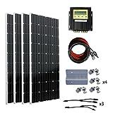 ECO-WORTHY 600W Monocrystalline 24V Off Grid Solar Panel Kits: 4pcs 150W Mono Solar Panels + 20A MPPT Controller + Solar Cable + MC4 Branch Connectors Pair + Z Bracket Mounts